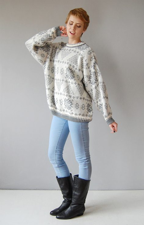 Biało szary zimowy sweter vintage lata 90.