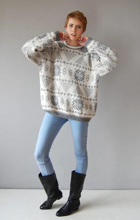 Biało szary zimowy sweter lata 90.