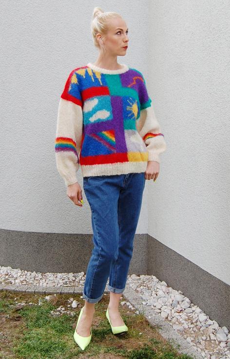 Wełniany sweter tęcza