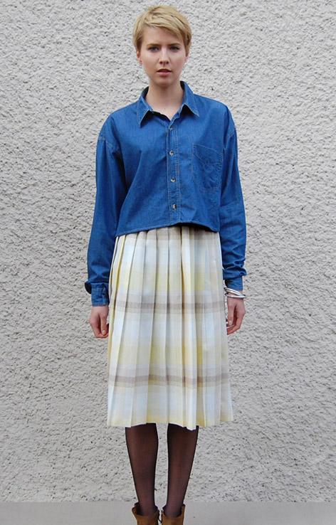 plisowana-zoltka-spodnica-w-krate-retro-vintage