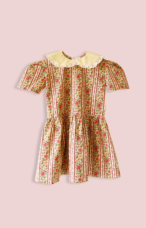 sukienka kwiatowa z kolnierzukiem zolta