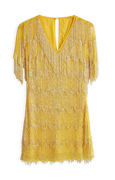 Krótka żółta sukienka dekolt v koralikowe frędzle krótki rękaw